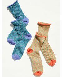 Free People Mood Space Dye Short Crew Socks - Blue