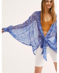 Free People Golden Hour Tie Front Kimono - Blue