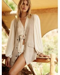 Free People Low Rider Suede Vest - Natural