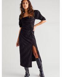 Free People Looking Stunning Midi Dress - Black