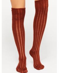 Free People - Woodland Pointelle Over The Knee Socks - Lyst