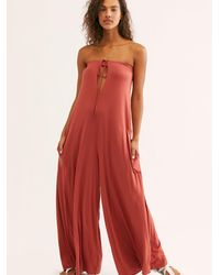 Free People In The City Jumpsuit By Fp Beach - Red