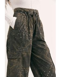 Free People Fly Away Studded Parachute Pant - Black