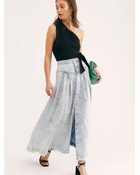 Free People Pleated Denim Maxi Skirt - Blue