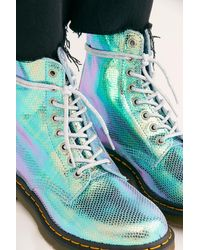 Free People Dr. Martens 1460 Pascal Duo Chrome Boots - Blue