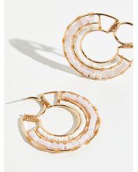 Free People Beyond Beaded Hoop Earrings - Metallic