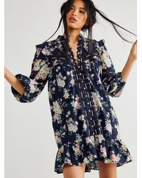 Free People Bouquet Tunic Dress - Blue