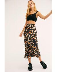 Free People - Kendall Satin Midi Skirt - Lyst