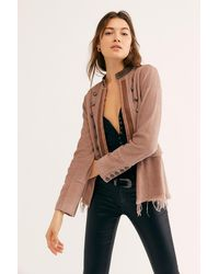 Free People Lucy Military Jacket - Brown