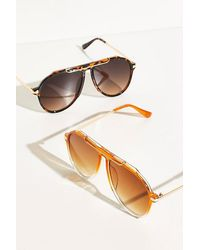 Free People Ventura Oversized Aviator Sunglasses - Brown