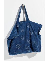 Free People Organic Veg Dyed Printed Tote - Blue
