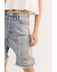 Free People Denim Patched Harem Shorts By We The Free - Blue