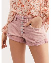 Free People Romeo Rolled Cut Off Shorts - Pink