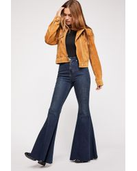 Free People Crvy Super High-rise Lace-up Flare Jeans By We The Free - Blue