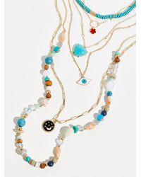 Free People Wonderland Evil Eye Layered Necklace - Metallic