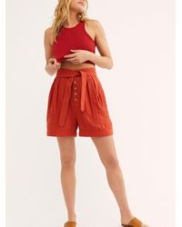 Free People Thea Tie Shorts By Endless Summer - Red
