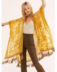 Free People Nightbird Burnout Kimono - Yellow
