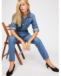 Free People Lee Union Coverall - Blue