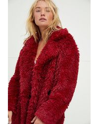 Free People Evys Faux Fur Coat - Red