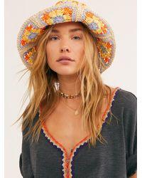 Free People Summer Of Love Straw Bucket Hat - Orange