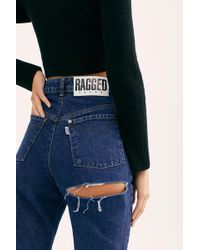 Free People The Ragged Priest Back Slash Mom Jeans - Blue