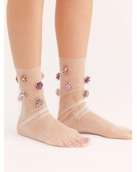 Free People Never Settle Petal Tulle Socks - White