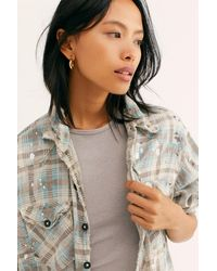 Free People Kelly Western Plaid Shirt By Magnolia Pearl - Gray