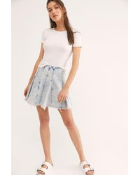 Free People Lived In Love Mini Skirt - Blue