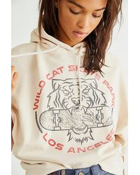 Daydreamer Wild Cat Skate Park Oversized Hoodie - Natural