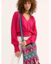 Free People Clover Drawstring Straw Bucket Bag By Straw Studios - Multicolour