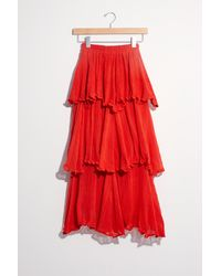 Free People Leonne Ruffle Skirt - Red