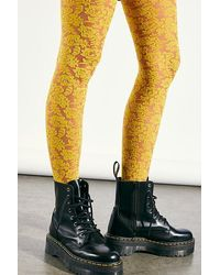 Free People Saved By The Belle Lace Tights - Yellow