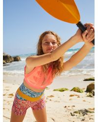 Free People Printed White Water Shorts By Fp Movement - Multicolour