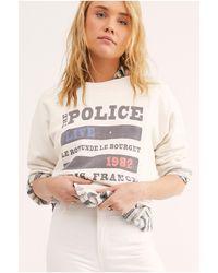 Free People Police Live In Paris Tee By Original Retro Brand - White