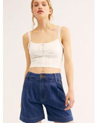Free People Lee Pleated Shorts - Blue
