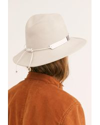 Free People Nomad Painted Leather Felt Hat By Nikki Beach - Brown