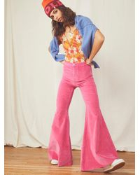 Free People Just Float On Velvet Flare Jeans - Pink