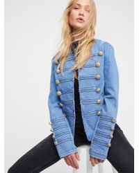 Free People - Clothes Jackets & Outerwear Fitted Military Denim Jacket - Lyst