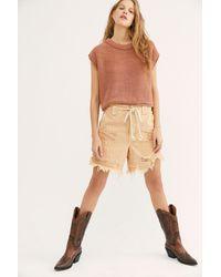 Free People Tallulah Distressed Shorts - Multicolour