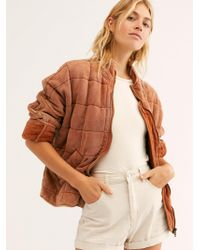 Free People Dolman Quilted Knit Jacket - Brown