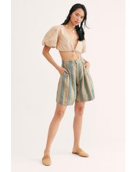 Free People Easy Linen Bermuda Shorts By Cp Shades - Multicolor