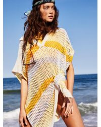 Free People Bayside Stripe Crochet Poncho - Multicolour