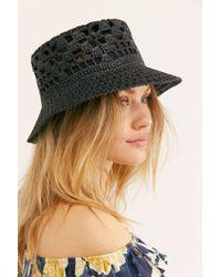 9217680953d31 Free People - Quinn Crochet Straw Bucket Hat - Lyst