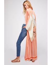 Free People Rising Sun Maxi Kimono - Orange