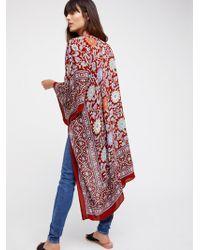 Free People Magic Dance Border Print Kimono - Red