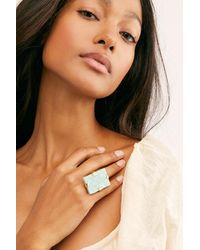Free People Large Raw Stone Ring By M.liz Designs - Multicolour