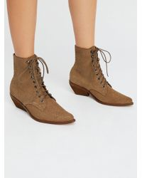 Free People - Suede Grove Lace-up Western Boot - Lyst