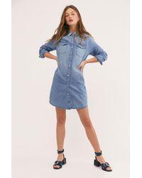 563e5a5da15 Lyst - Free People Dynomite In Denim Mini Dress in Blue