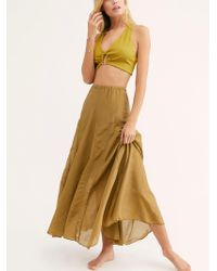 Free People - Lily Cotton Silk Maxi Skirt - Lyst