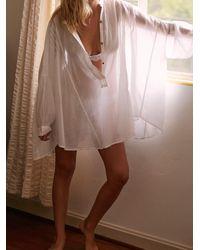 Free People Tuck Up Tuck In Sleep Shirt - White